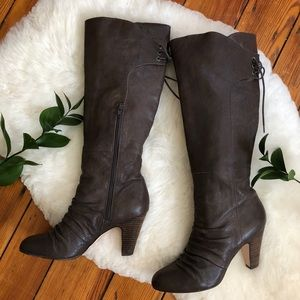 Seychelles💕Lace up Leather Heeled Gray Boots 9